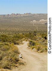Desert Road - vertic - An endless rugged, twisting road in...