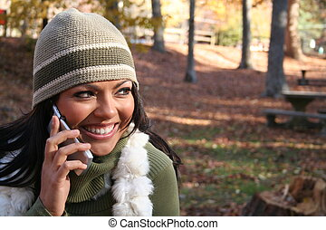 Autumn Scene Fall Woman With Cell Phone Communications Scene...