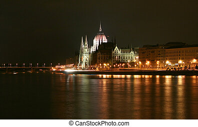 Budapest, side view of parliament at night