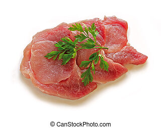 Fresh meat - Three slices of fresh meat with parsley