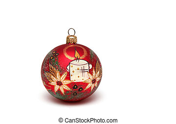 Christmas bulb - Red christmas bulb decorated with white...