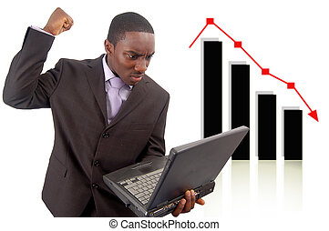 Stock Losses - This is an image of a man deeply...