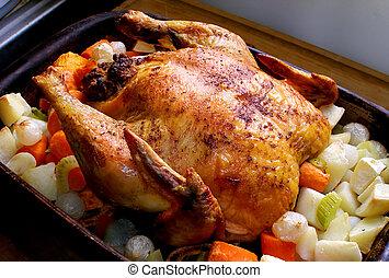 assado, galinha