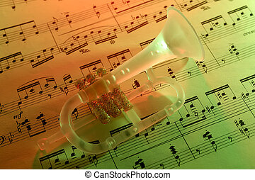 Music - Photo of Sheet Music and a Trumpet Christmas...