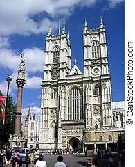Westminster Abbey in London, blue sky, tower