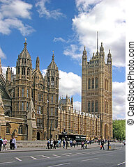 Houses of Parliament in London, tower, blue sky & cloud,...