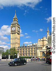 Big Ben in London, blue sky