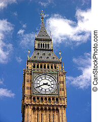 Big Ben in London, blue sky, clock