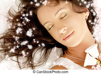 christmas dream with snowflakes - dreaming girl with...