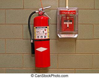 fuego, Extintor, alarma, 2