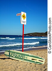 lifeguard - abandoned lifeguard surf, sign \\\'dangerous...