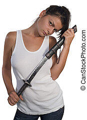 Woman with sword - Brunette girl holding a sword