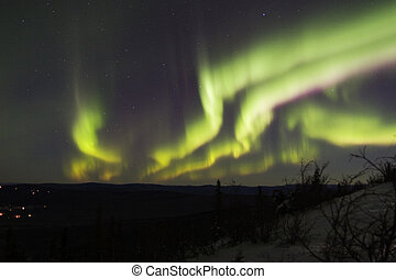 Multiple colorful bands of the northern lights