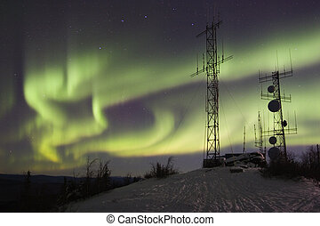 Northern lights above antennas - Aurora borealis above...