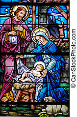 1800s Nativity - Stained glass window from 1875-1899 St...