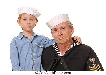 Sailor and Son 7 - Old US Navy sailor with his son
