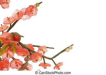 Jade Cherry Blossom 7 - Detail of fine chinese jade cherry...