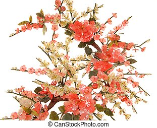 Jade Cherry Blossom 10 - Detail of fine chinese jade cherry...