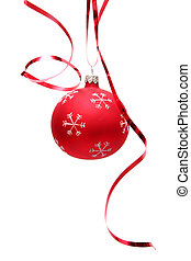 Red christmas bulb - Red decorated christmas bulbs on a...