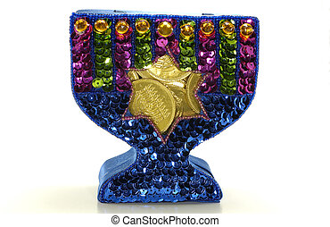 Chanukah - Photo of CHanukah Menorah Filled WIth Candy Gelt...