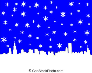 Chicago Skyline in winter illustration with snowflakes