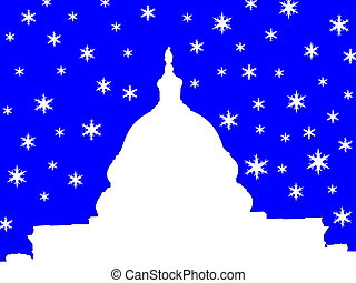 capitol building Washington DC in winter illustration with...