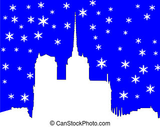 Notre Dame in winter illustration with snowflakes