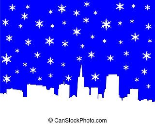 San Francisco skyline in winter illustration with snowflakes