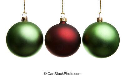 Christmas decoration - Three Christmas balls on white...