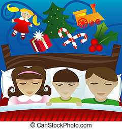 Dreaming of Christmas Morning - Three kids sleep on...