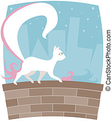 Kitty Nightlife - White kitty with a HUGE tail, walking...