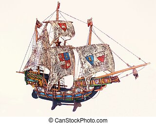 Sail boat 00056 - A model sail boat from 1402 ob white...