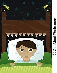 Little Boy\\\'s Scared of the Dark - Little boy in bed,...