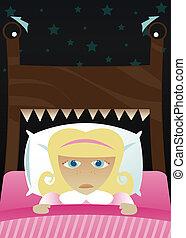 Little Girl\\\'s Scared of the Dark - Little girl in bed,...
