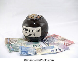 Retirement Fund - Jar full of coin with paper bills around...