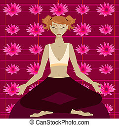 Lotus - Woman in yoga meditation position in front of a...