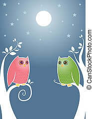 Lovebirds at Night - Owls looking longingly into...