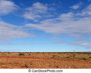Gibber plain and sky - Vast Gibber Plain Sky, Sturt Desert,...