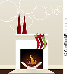Modern Holiday Fireplace - Sleek, modern fireplace decorated...