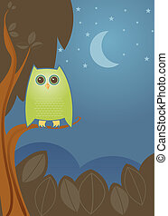 Night Owl - Bright green owl perched on a branch, enjoying...