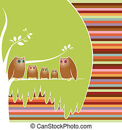 Owl Family Tree - Family of five owls perched in their cozy...
