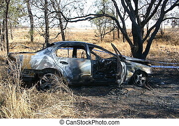car crash - stolen car burst into flames. great shot for a...