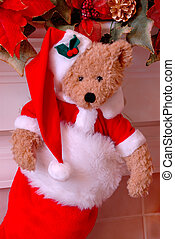 Santa Bear Christmas Stocking - Red and white fur christmas...