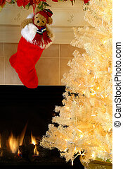 Christmas Eve - Red and white fur christmas stocking with a...