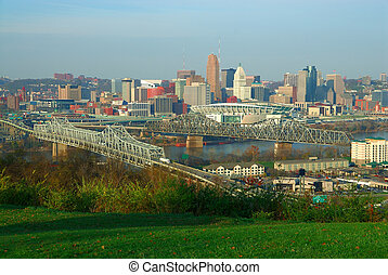 Downtown Cincinnati Ohio - Aerial view of downtown...