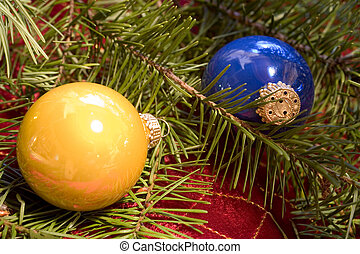 Christmas Ornaments with Douglas Fir Branch - Photo of...