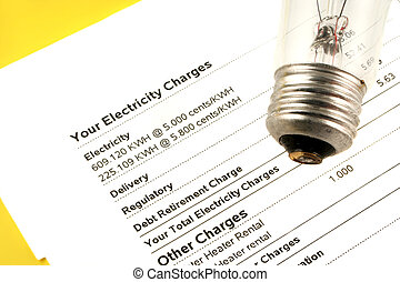 electricity bill - lightbulb on electricity bill stating...