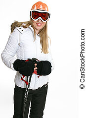 Female in ski clothing