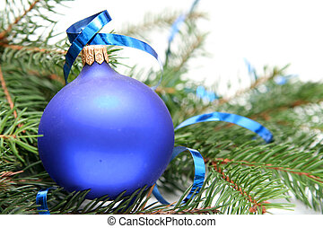 Blue christmas bulbs on a white background