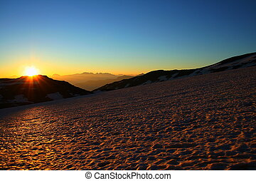 French sunrise - Sunrise over a glacier in the French Alps